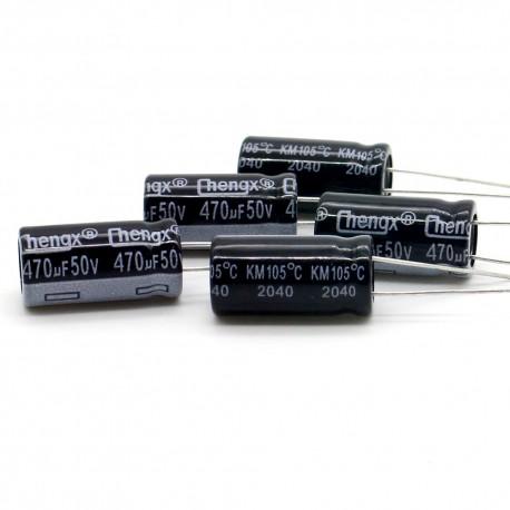 5x Condensateur chimique 470uf 50v 10x17mm 2con003
