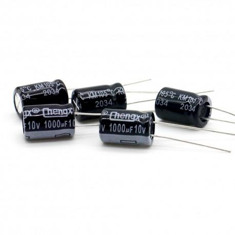 5x Condensateur chimique 1000uf 10v 8x12mm - 3con005