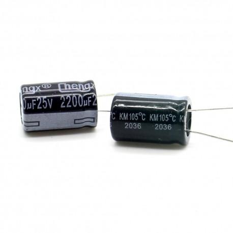 2x Condensateur electrolitique radial 2200uF 16V 12x20mm - 161con395