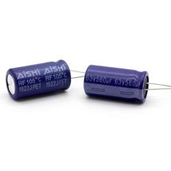 2x Condensateur 560uf - 63V - 13x25mm - P:5mm - 105°C - AISHI